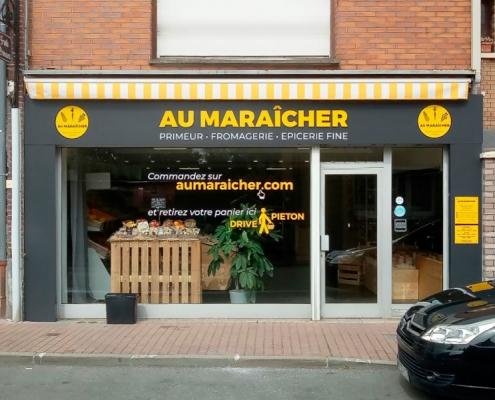Au maraicher à Lille-Enseigne-piliers et lettrage adhésif vitrine